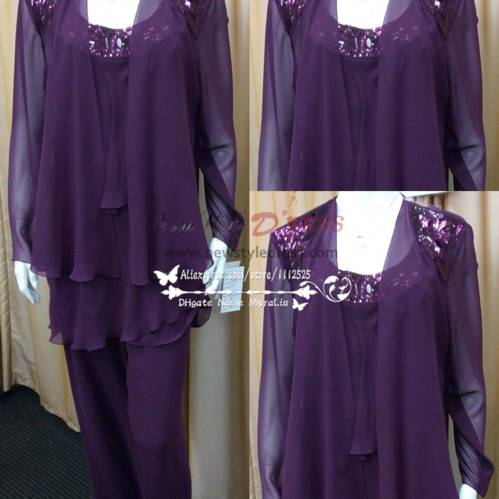 Custom made plus size real photo beaded purple chiffon for Dress pant suits for weddings plus size