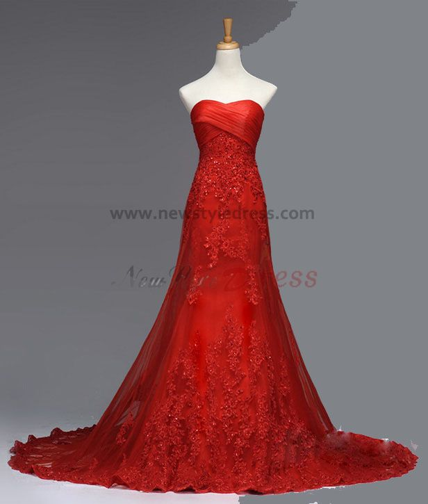 Red Wedding Dresses Lace : Red chapel train lace beading a line under wedding dresses nw