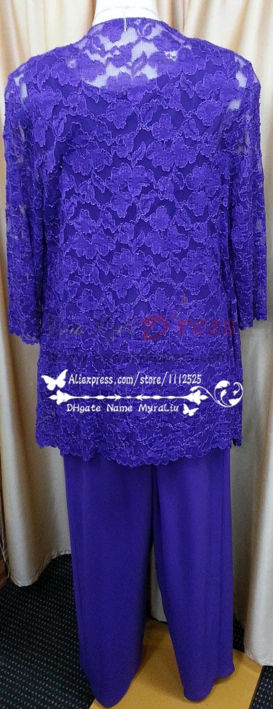 Grape Elegant Lace And Chiffon Mother Of The Bride
