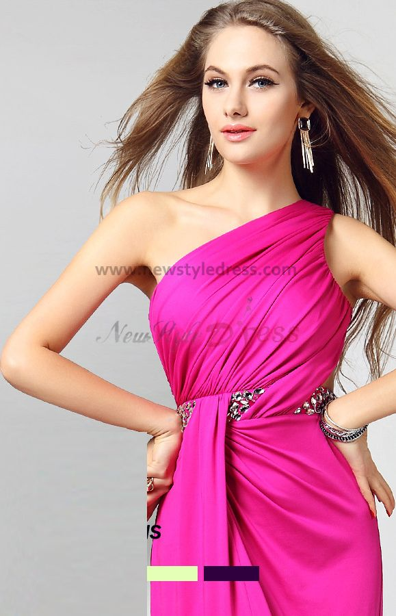 2014 new style rose red slits oblique band prom dresses np