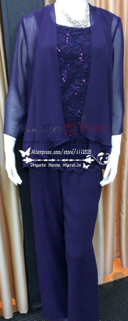 Plus size Royal blue chiffon with lace Mother of the bride pant suit nmo-191