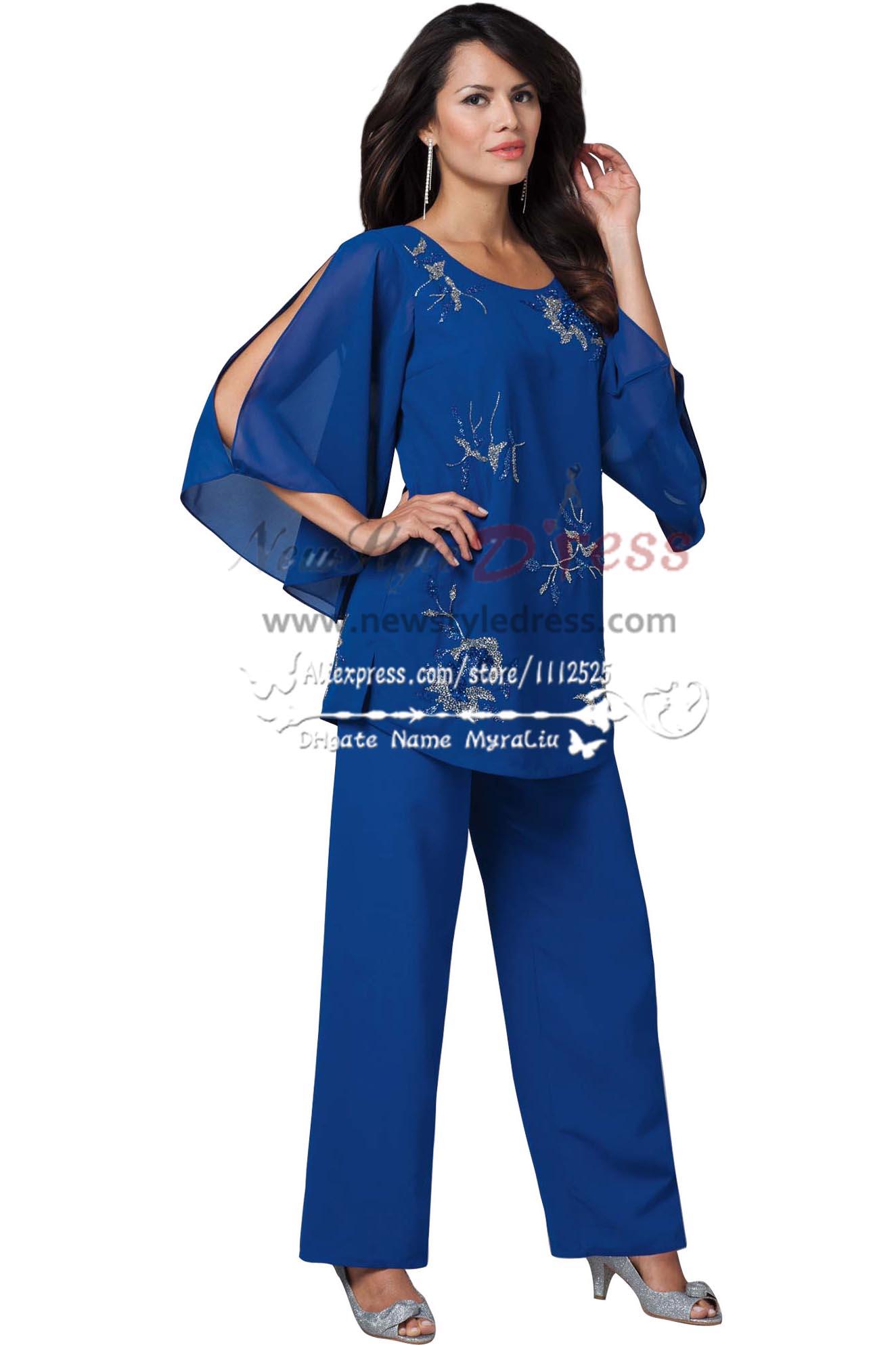 Royal Blue mother of the bride pants suit have a elastic waist