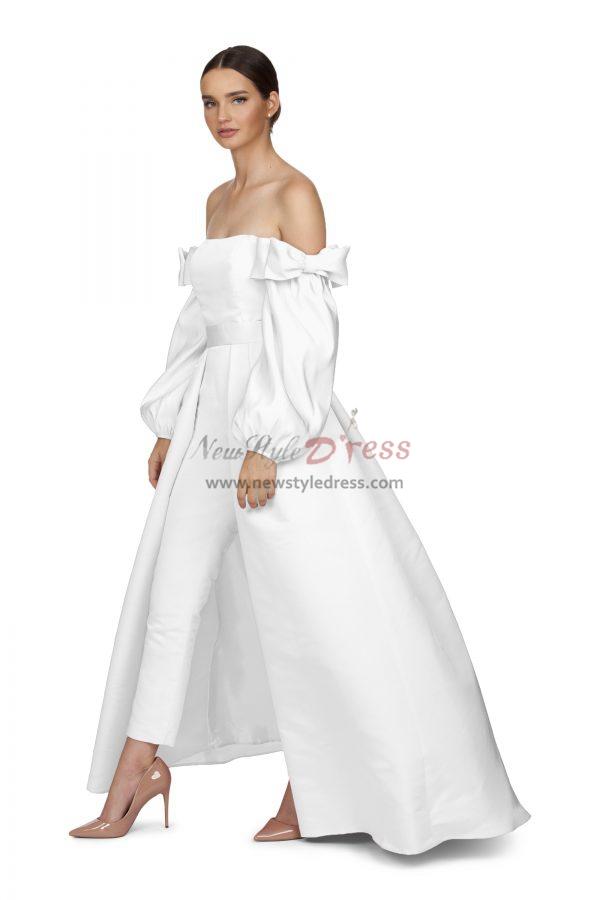 Satin Bridal Jumpsuit Pink Prom Gown Detachable Train Wps 156