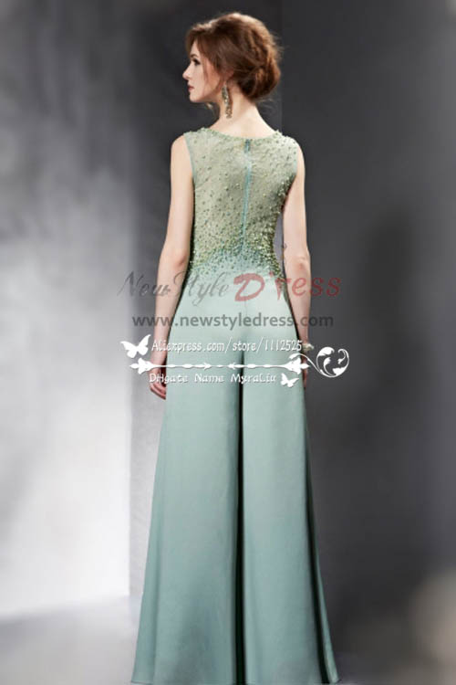 sexy green chiffon wedding jumpsuit with hand beading nmo238