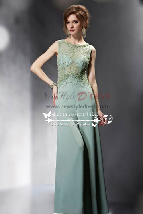 Sexy Green Chiffon Wedding Jumpsuit With Hand Beading Nmo 238