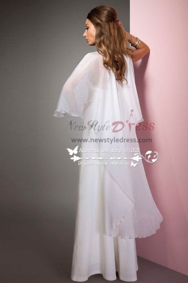 sexy halter deep vneck bridal jumpsuits with chiffon cape