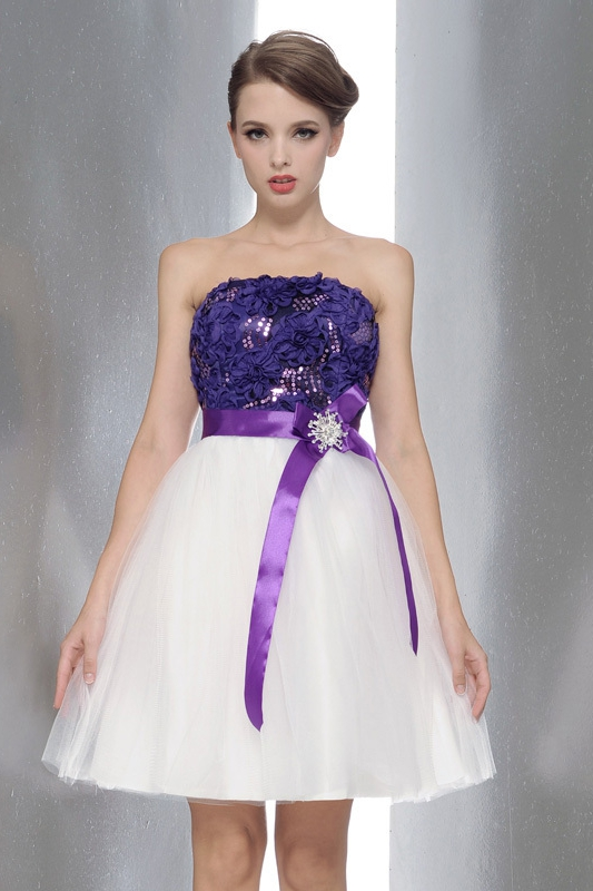 Strapless Purple White Short Dresses Wedding Party Waist With A Bow Nm 0169