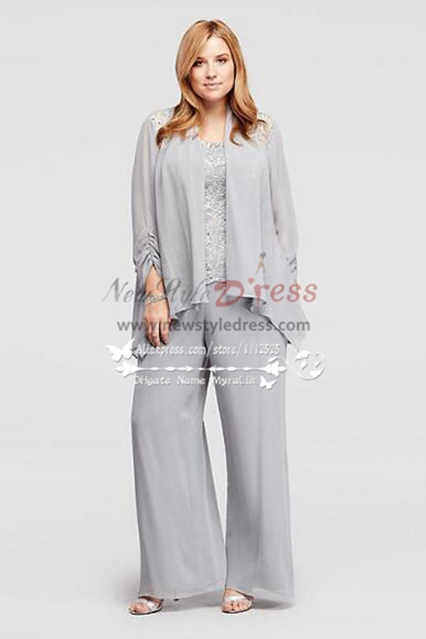 Silver Chiffon Mother Of The Bride Pant Suits With Jacket