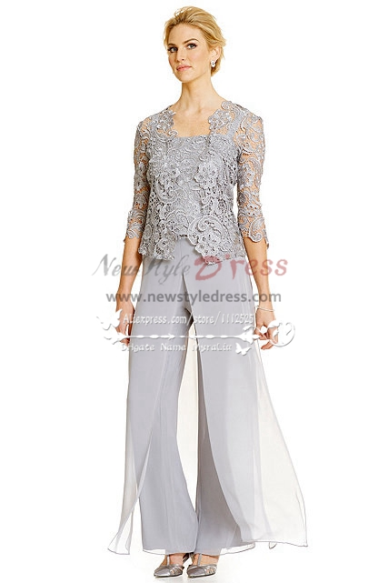 Silver Grey 3pc Pantset For Summer Wedding Mother Of The