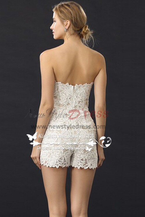 Simple Sweetheart Short Lace Jumpsuit For Summer Wedding