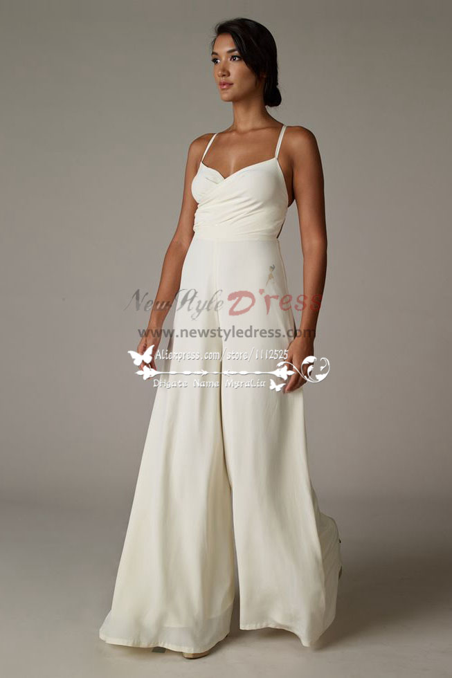Spaghetti Chiffon Wedding Jumpsuit Wide Leg Pants