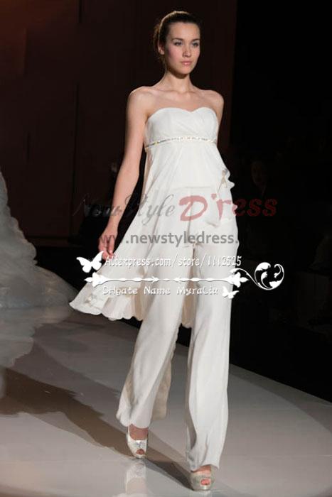 065c5627b392 Sweetheart chiffon Empire wedding jumpsuit dresses wps-074