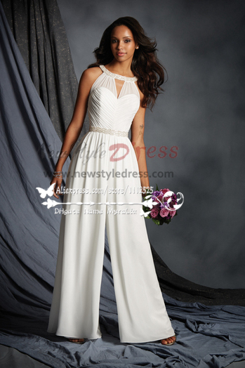 White chiffon halter bridal jumpsuit for beach wedding wps 080 for Dress pant outfits for wedding