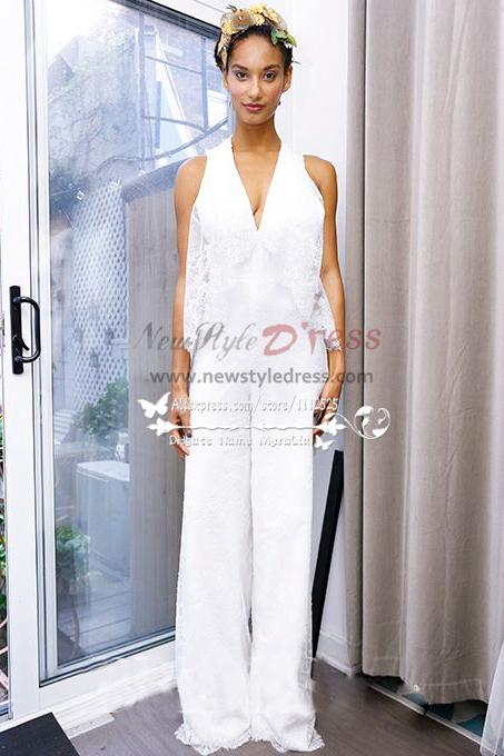 White lace bridal jumpsuit V-neck pantsuit dresses for wedding ...