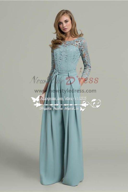 Women\'s Chiffon Prom Jumpsuit with lace Long Sleeves nmo-230