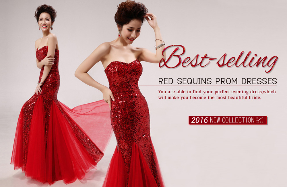 2014 Red Sequins Mermaid Trumpet Prom Dresses